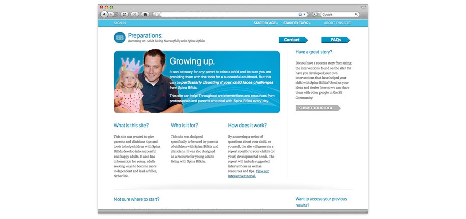 Site for sharing and knowledge about parents raising children with and living with Spina Bifida